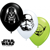 """Qualatex 5"""" Star Wars Faces Balloons - Assorted Colours"""
