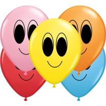 "Qualatex 5"" Round Rainbow Google Eye Faces Balloons"